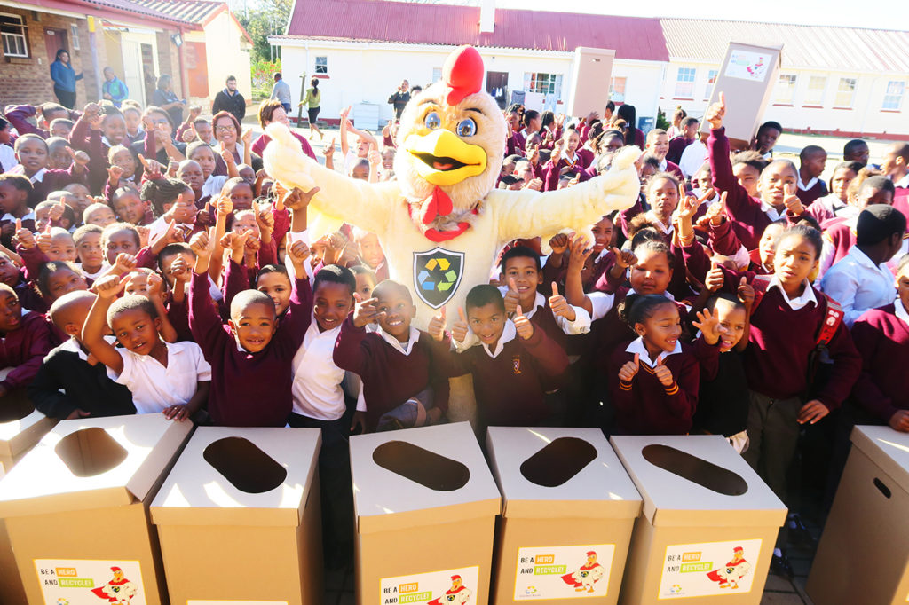 Rocky the Recycling Rooster and learners from St. Paul's Primary School in George